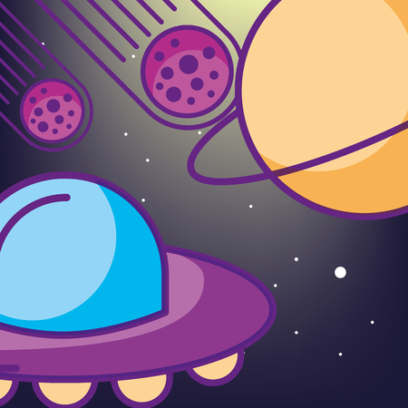 space galaxy card ufo meteorite ufo explore vector illustration
