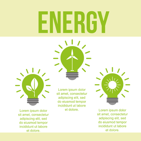 green bulbs light wind solar power energy vector illustration