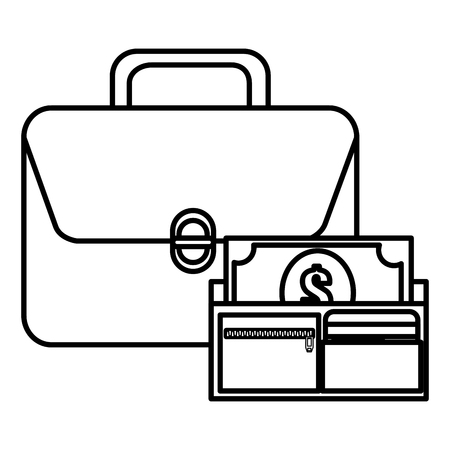 portfolio with wallet and bills money vector illustration design Ilustrace