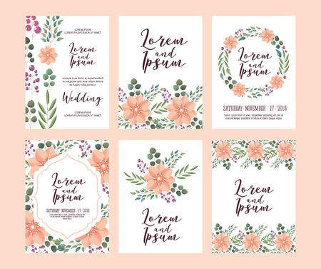 set of card with pink wild flowers leaves wedding ornament vector illustration Ilustracja