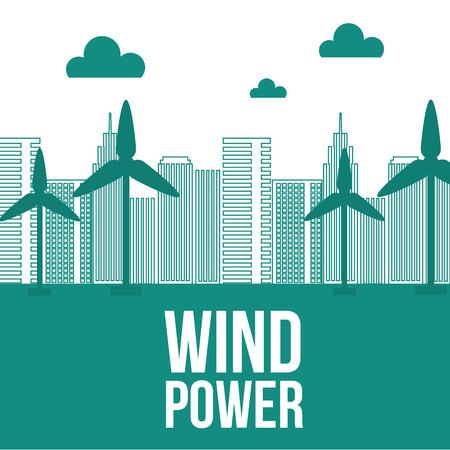 wind power tubine city ecology energy vector illustration