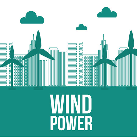 wind power tubine city ecology energy vector illustration