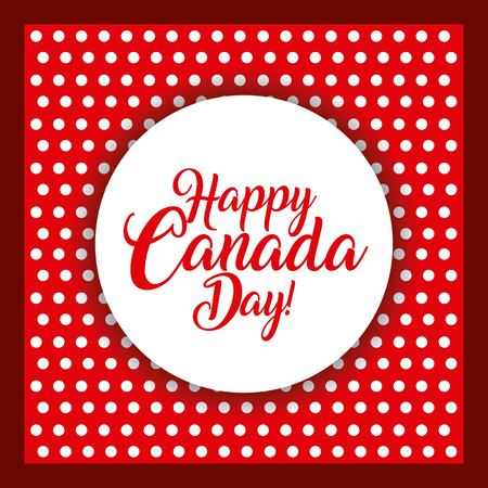 happy canada day card dotted background sticker sign vector illustration