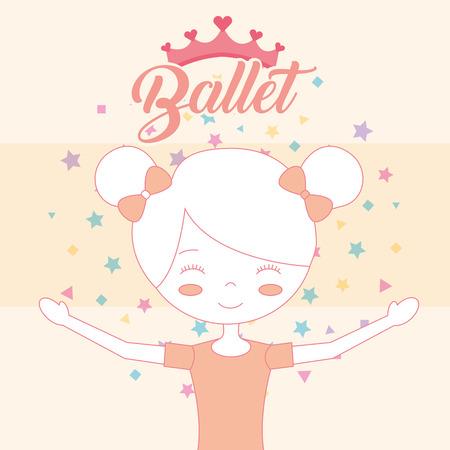 beautiful ballerina in bun hair crown ballet vector illustration Иллюстрация