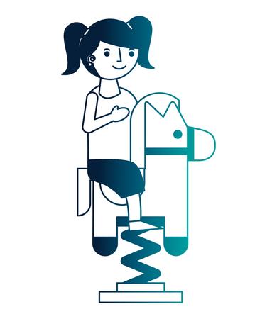 little girl riding in toy horse rocking vector illustration neon Illustration