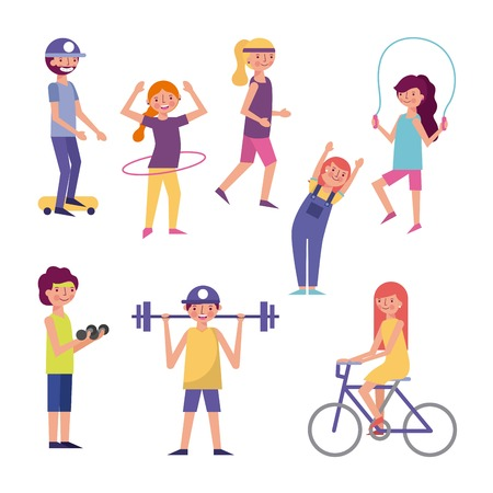 people park and city womans mans doing exercise jumping riding bicycle joggingvector illustration
