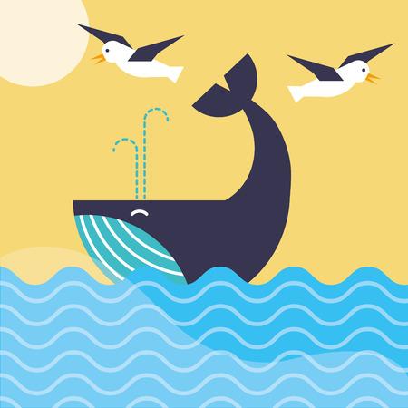 nautical maritime design gulls flying over whale ocean vector illustration