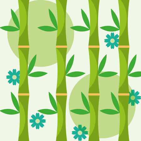 decoration natural bamboo flowers and leaves vector illustration
