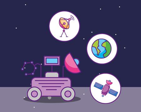 space galaxy cosmic card  car antenna world satelite explore vector illustration