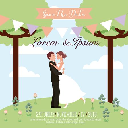 bride and groom embraced in the park wedding save the date card vector illustration