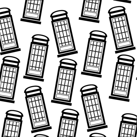 red telephone box london background vector illustration black and white