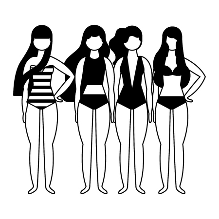 summer time group women in swimsuit characters vector illustration