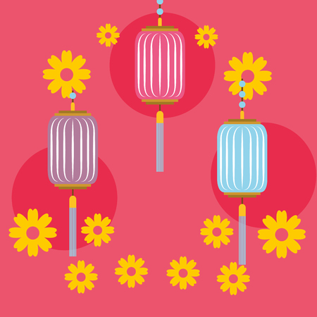 circles background flowers chinese lanterns decoration cute vector illustration Ilustração