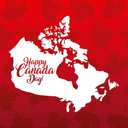 happy canada day card leave maple background grunge map celebration vector illustration