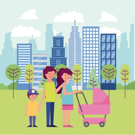 people park and city buildings happy family holding hands baby carriage walking vector illustration