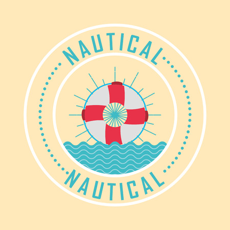 nautical maritime design float rescue in the ocean vector illustration