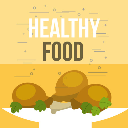 delicious chicken pieces and salad healthy food vector illustration