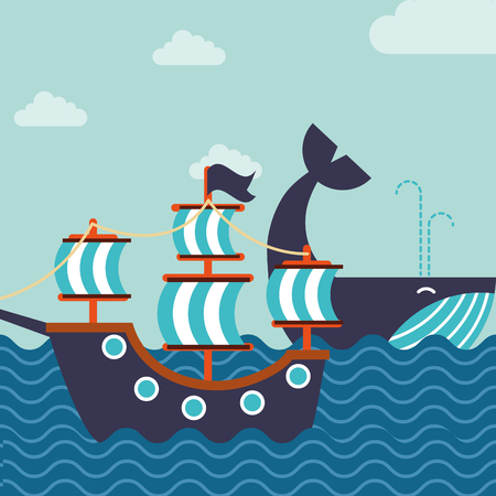 nautical maritime design whale ocean ship vector illustration 向量圖像