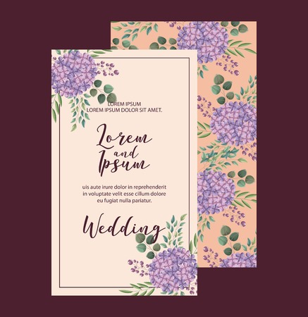 elegant hydrangea flowers decoration floral wedding card greeting vector illustration