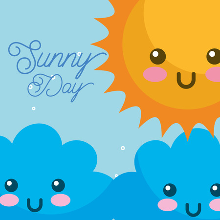 kawaii sunny day clouds weather vector illustration Illustration