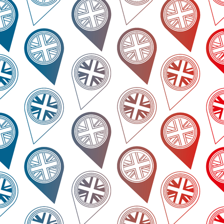 united kingdom flag in pointer map location background vector illustration gradient design