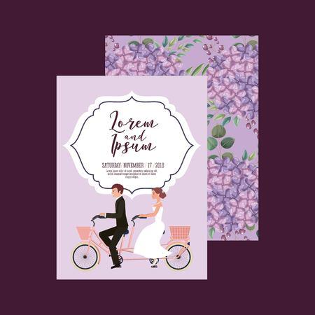 wedding card groom and bride riding tandem bike love flowers background vector illustration Illustration