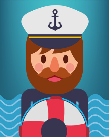 nautical maritime design cute pirate with float rescue vector illustration 스톡 콘텐츠 - 114961087