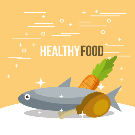 fish and chicken carrot nutrition healthy food vector illustration