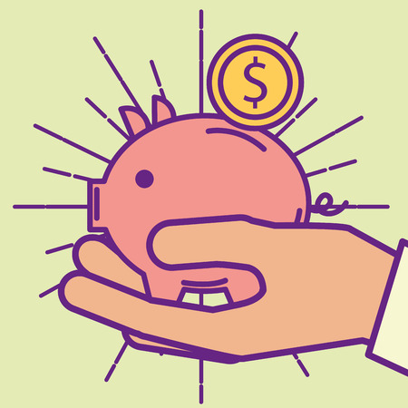 hand holding piggy bank coin  buy online vector illustration