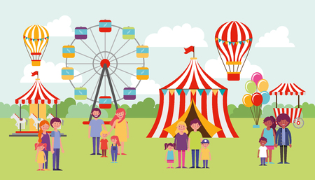 people park circus games wheel hot air balloon happy familys enjoying day vector illustration Illustration