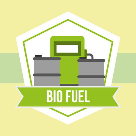 biofuel station barrels alternative emblem vector illustration