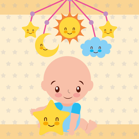 cute baby boy sitting with star and crib mobile vector illustration