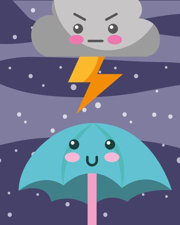 kawaii thunder cloud and umbrella cartoon vector illustration
