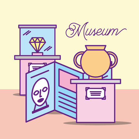 museum monuments design vase description artist diamond showcase vector illustration