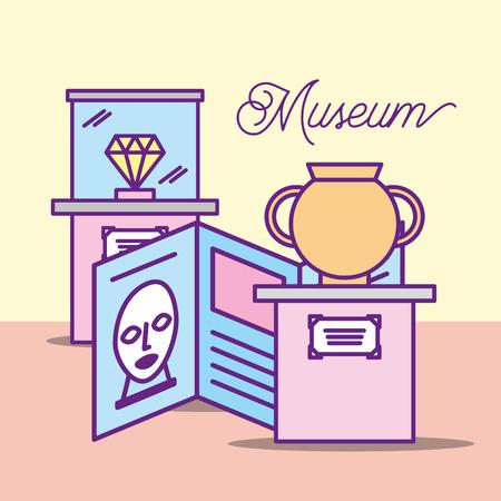 museum monuments design vase description artist diamond showcase vector illustration