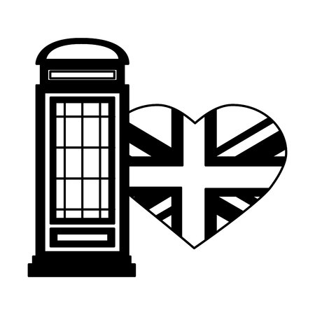 london telephone box and british flag vector illustration black and white Banque d'images - 104734561