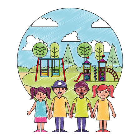 group childrens in the park playground vector illustration