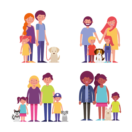 smiling family enjoying with childrens dogs holding hands vector illustration