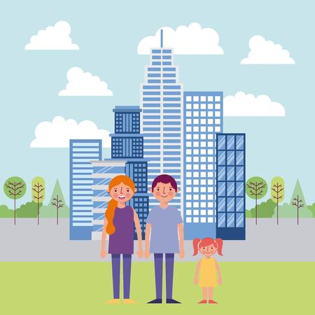 people park and city red clouds trees buildings family holding hands happy vector illustration Stock Photo