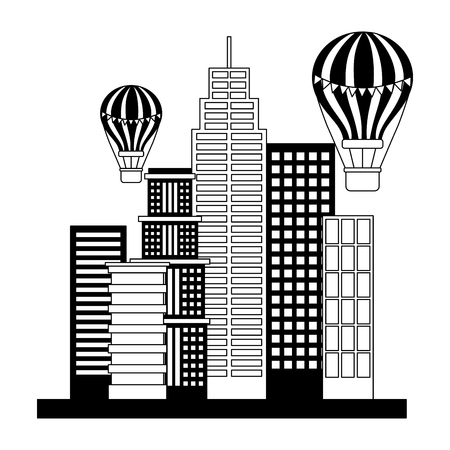 buildings structures with balloons air icon vector illustration design Banco de Imagens