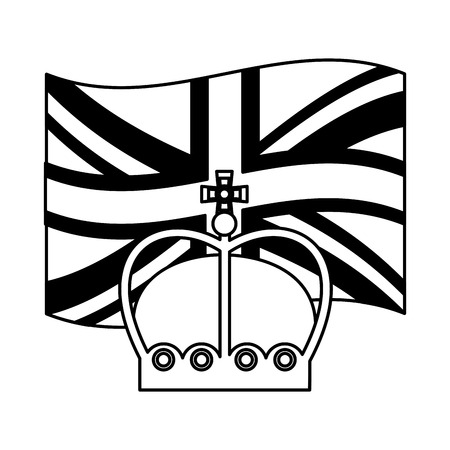 united kingdom flag and crown monarchy symbol vector illustration black and white Stock Photo