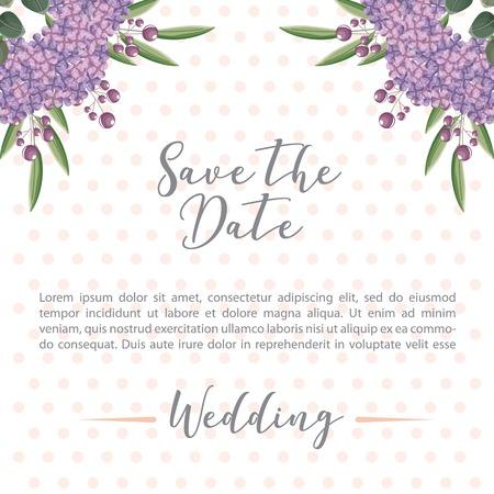 flowers hydrangea decoration wedding save the date card vector illustration
