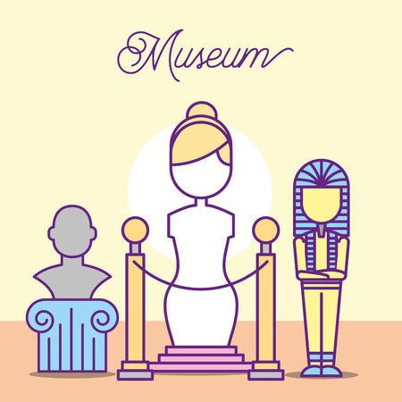 Museo de diseño de monumentos faraón monumento hombre mujer estatua ilustración vectorial