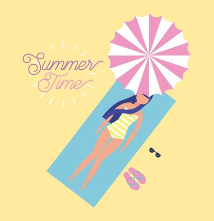 summer time vacation girl lying down in towel take a break glasses vector illustration