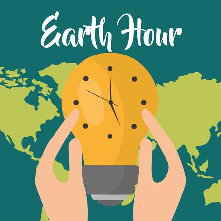 hands holding bulb light clock on map earth hour vector illustration Ilustração