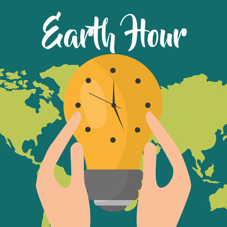 hands holding bulb light clock on map earth hour vector illustration Illustration