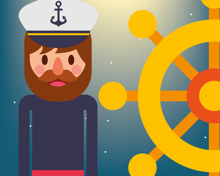 nautical maritime design night stars pirate with helm vector illustration