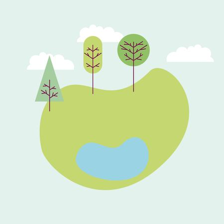 park with three trees lake colorful vector illustration