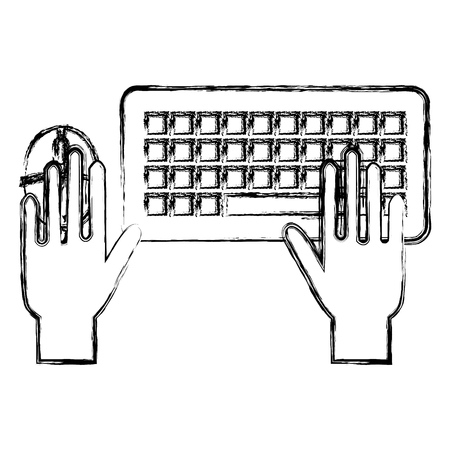 hand with computer mouse and keyboard vector illustration design