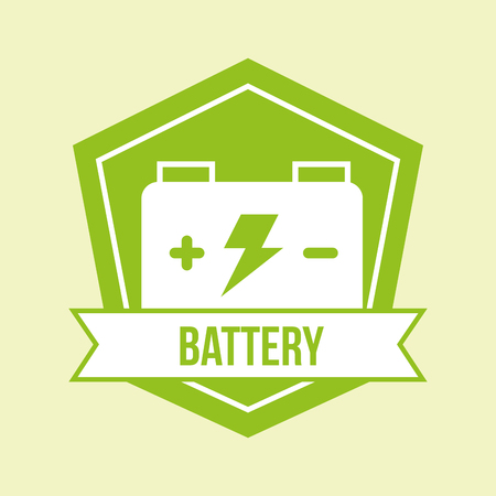 accumulator battery green energy emblem vector illustration